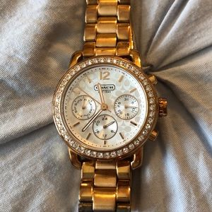 Coach watch rose gold white face